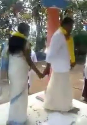 Groom's skirt falls down to reveal his underwear in front of guests (photos)