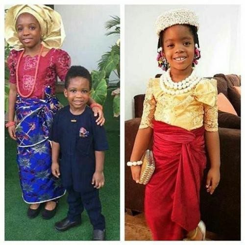 Contest: Ace comedians, Julius Agwu and Basketmouth shows off kids in traditional attire!