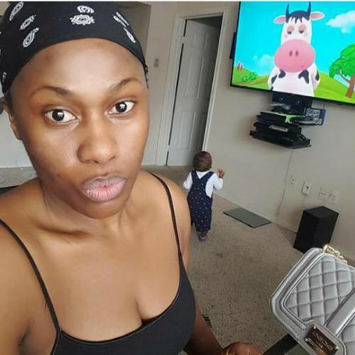 Makeup-free Photo of Uche Jombo shares selfie of her son watching TV